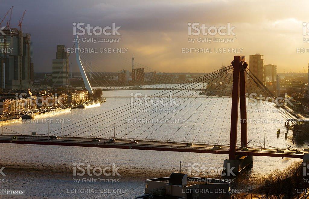 Rotterdam sunset bridges royalty-free stock photo