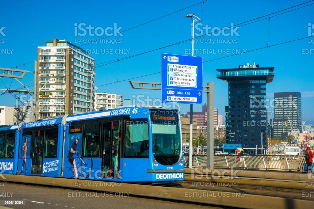 Rotterdam Tram and Centrum Skyline stock photo
