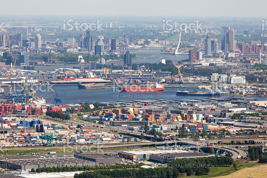 Rotterdam with Waalhaven aerial stock photo