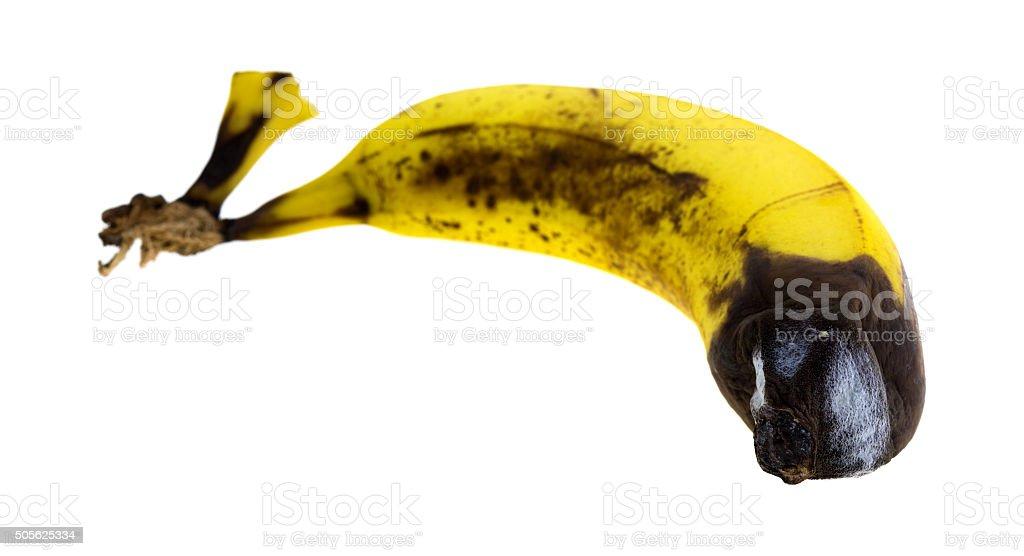 Rotting banana side view stock photo