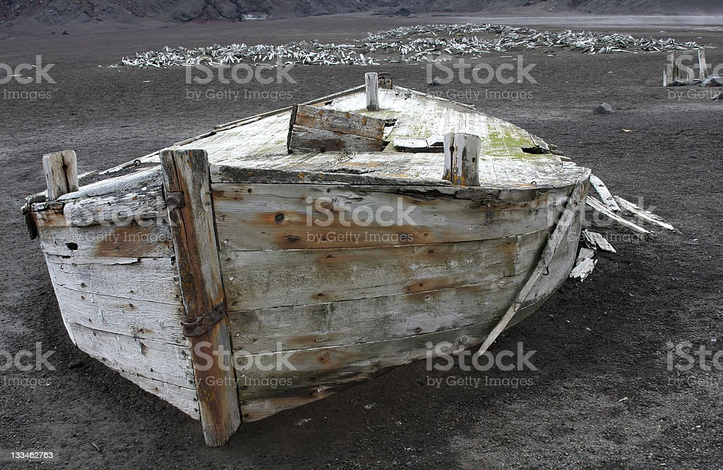 Rotting Boat Remains of Antarctica Whale Industry stock photo
