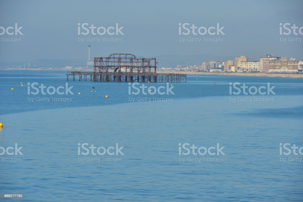 Rotting shell of the West Pier at Brighton. stock photo