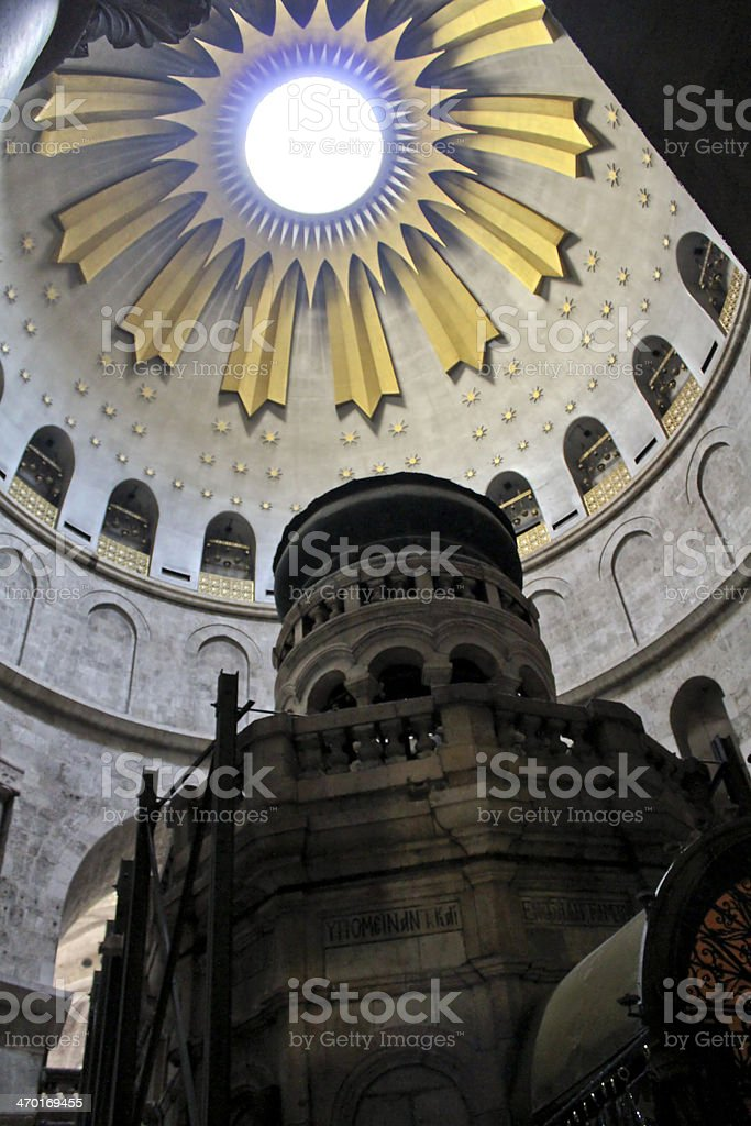 Rotunda above the Edicule in Church of Holy Sepulcher stock photo