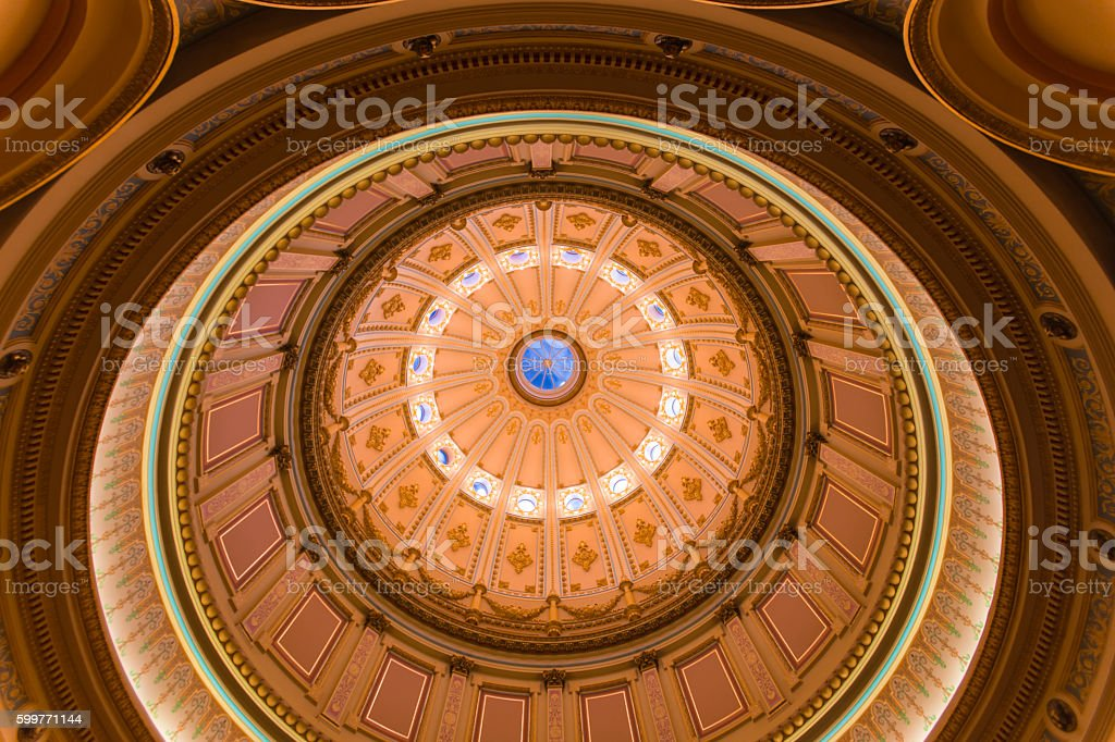 Rotunda California Capital building in Sacramento stock photo