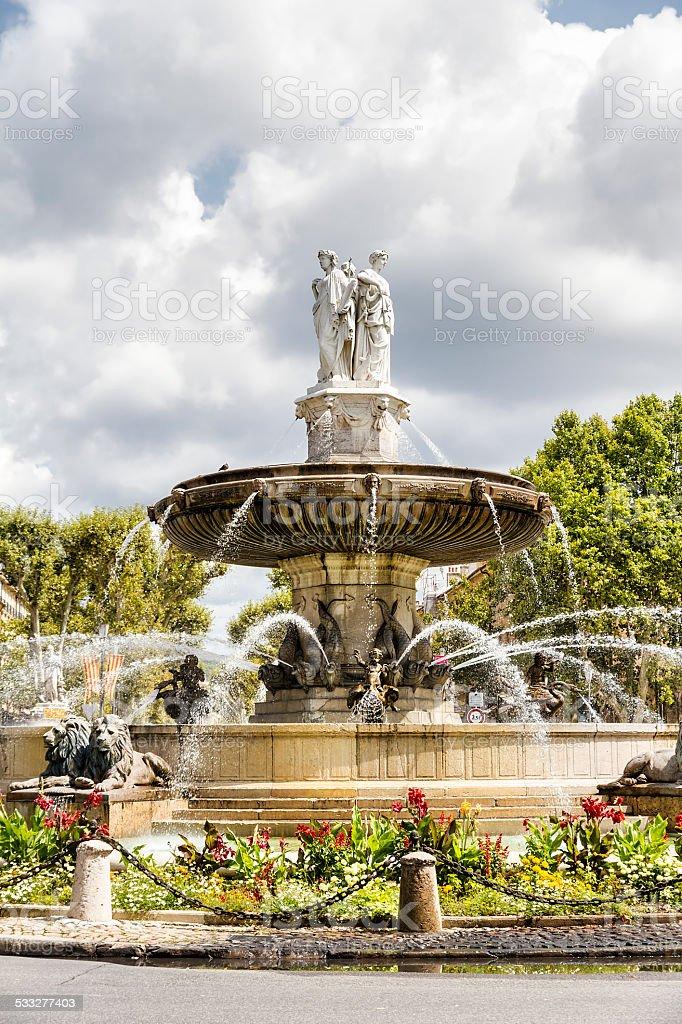 Rotunda Funtain in Aix en Provence stock photo