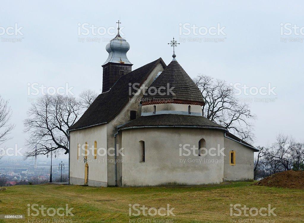 Rotunda in Goryany, medieval church in Uzhhorod town,unesco heritage stock photo
