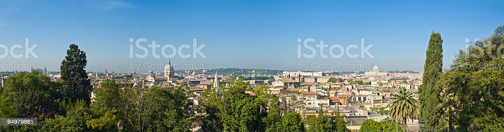 Rotundas and rooftops of Rome stock photo