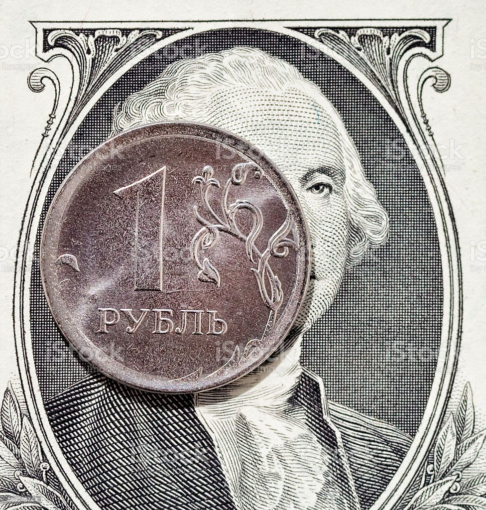 Rouble and  Dollar stock photo