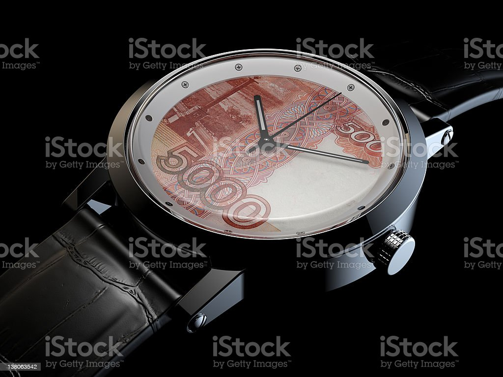 Rouble wristwatch. royalty-free stock photo