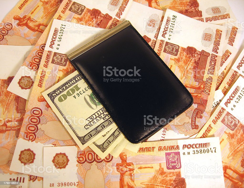 Roubles and dollars royalty-free stock photo