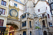 Rouen City with clock and old buildings in Normandy, France