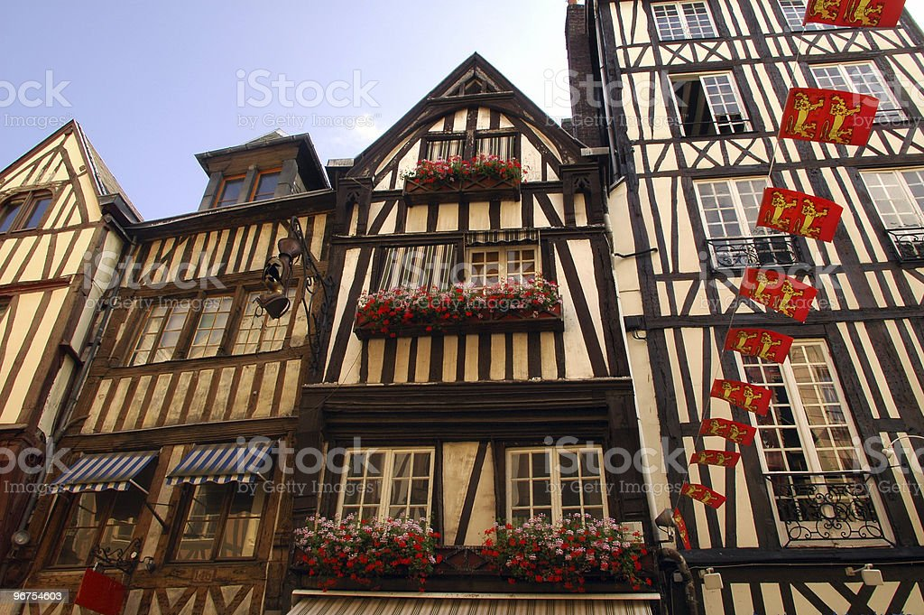 Rouen (Normandy), old half-timbered houses royalty-free stock photo