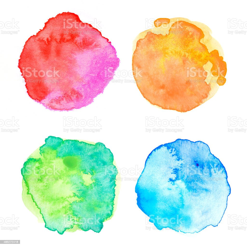 Rough circle colorful watercolor painting stock photo