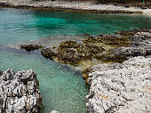 Rough Croatian coastline in Nerezine. Second.
