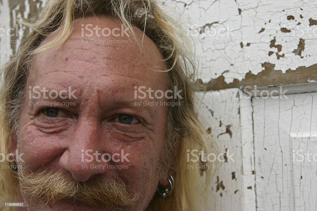 Rough Face and Door stock photo