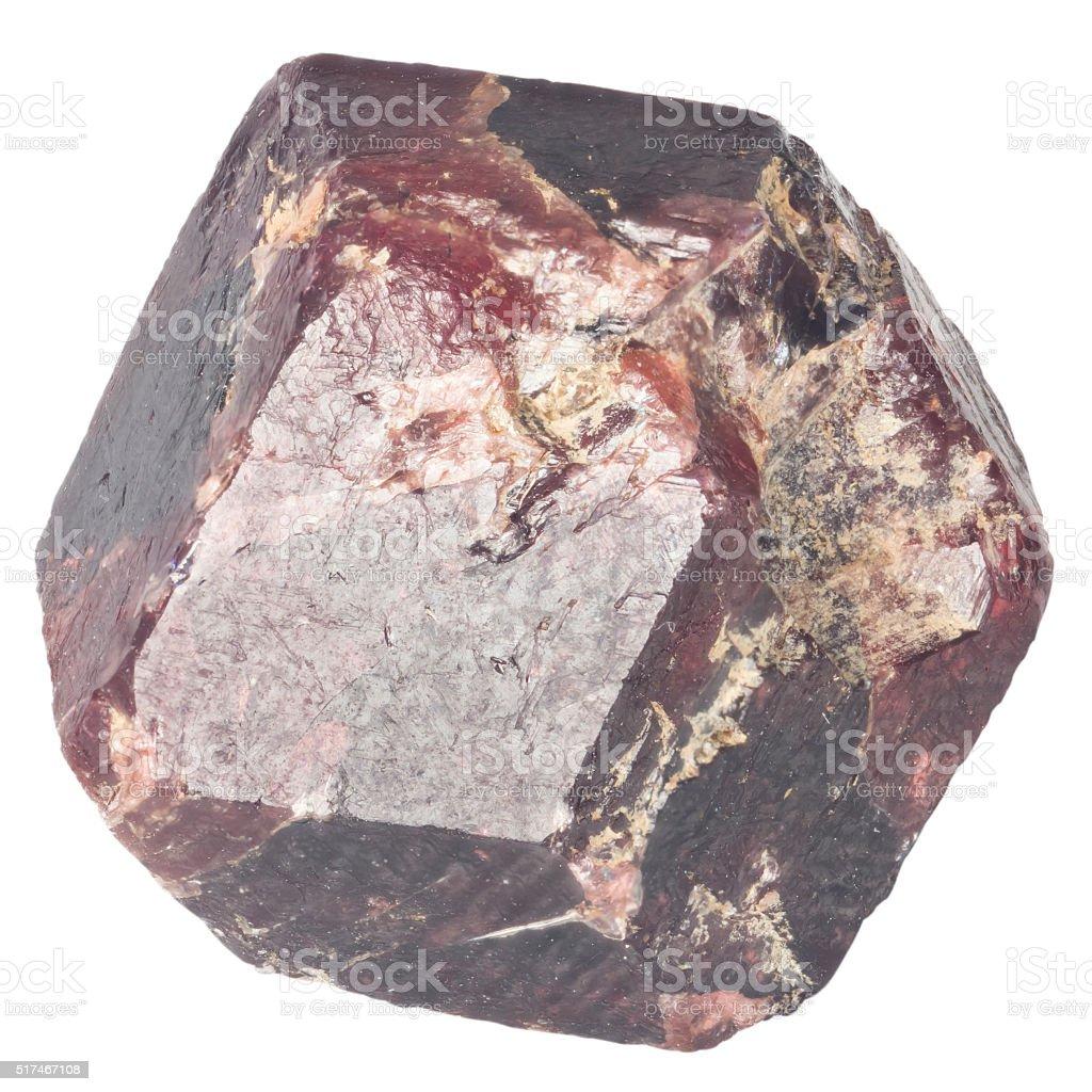 Rough garnet crystall macro isolated on white stock photo