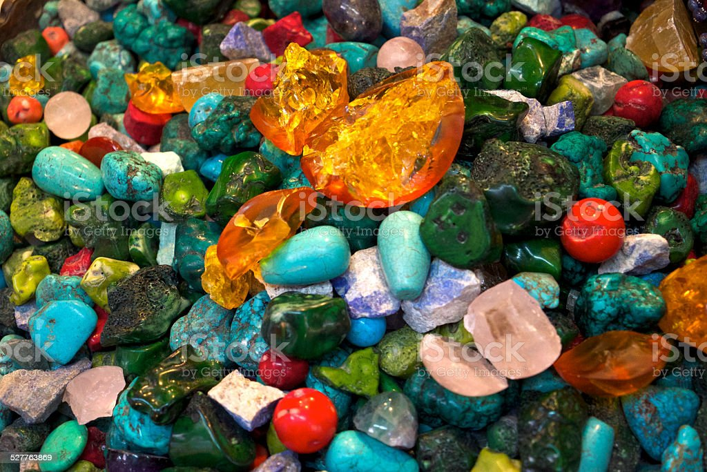 Rough Gemstones and Beads stock photo