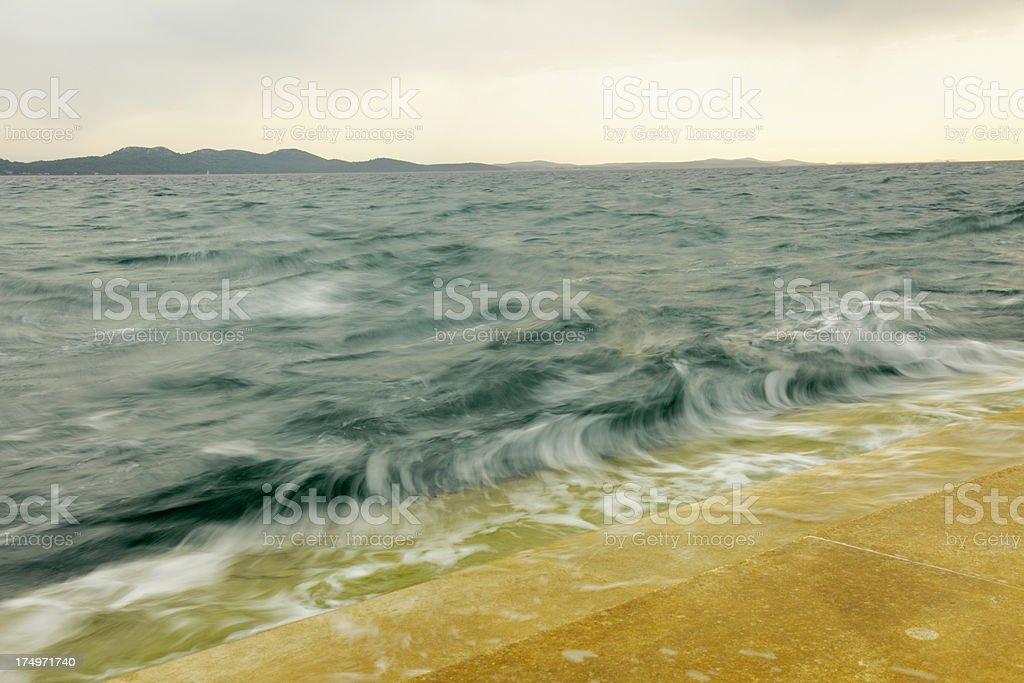 rough green mediterranean ocean view near Sea Organ Zadar Croatia royalty-free stock photo
