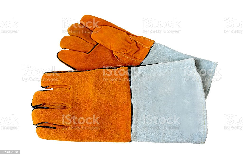 Rough leather gloves for welders, isolated on white background. stock photo