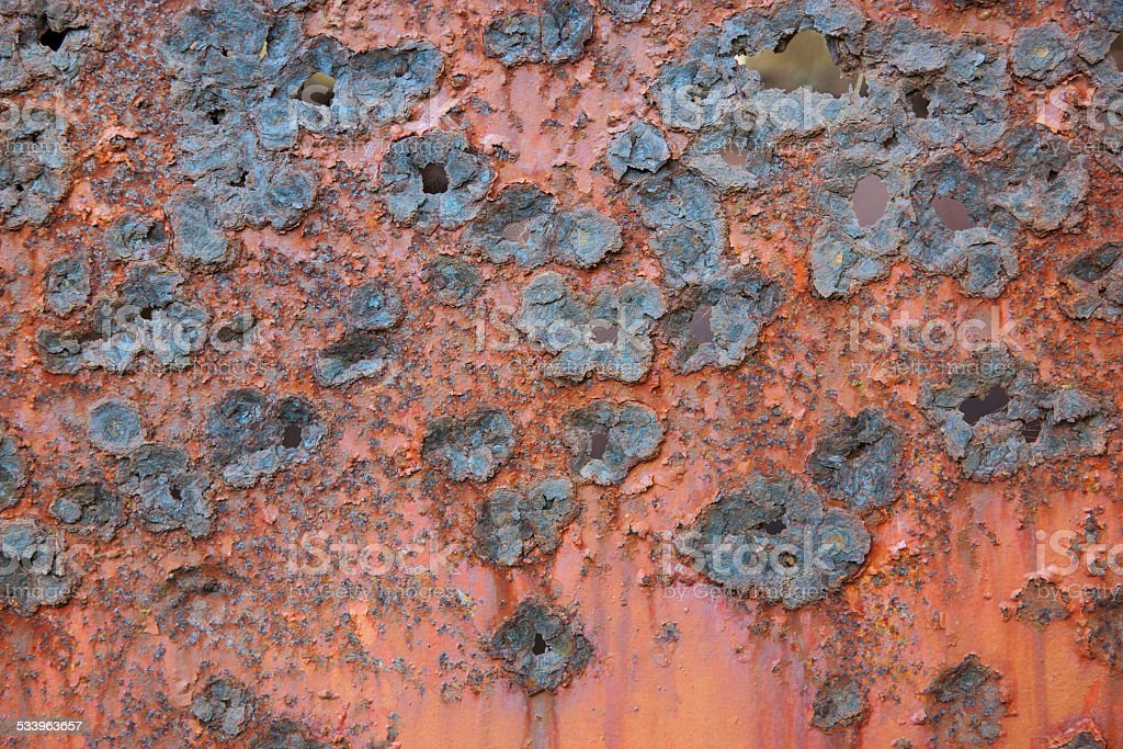 Rough pattern of a rusted metal plate stock photo