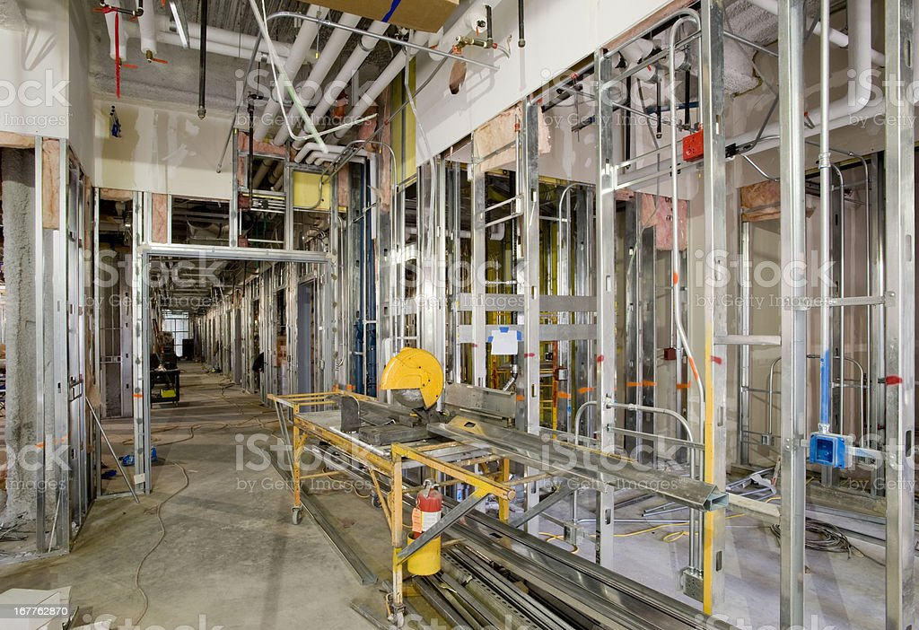 Rough Plumbing and Steel Stud Framing, Commercial Construction stock photo