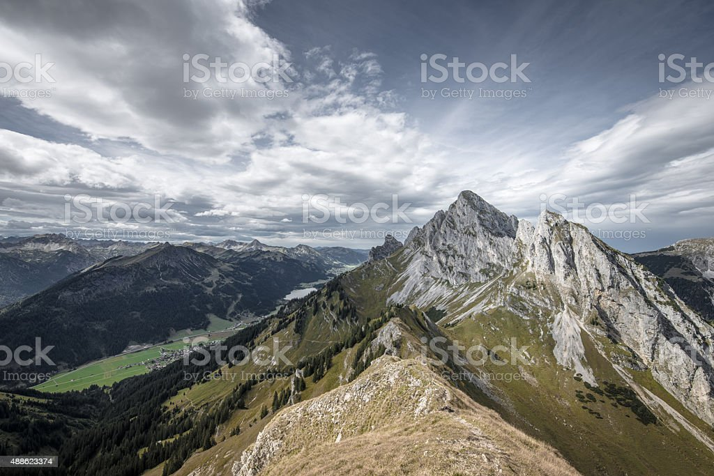 rough rocky mountain summits at tannheimertal and lechtal stock photo