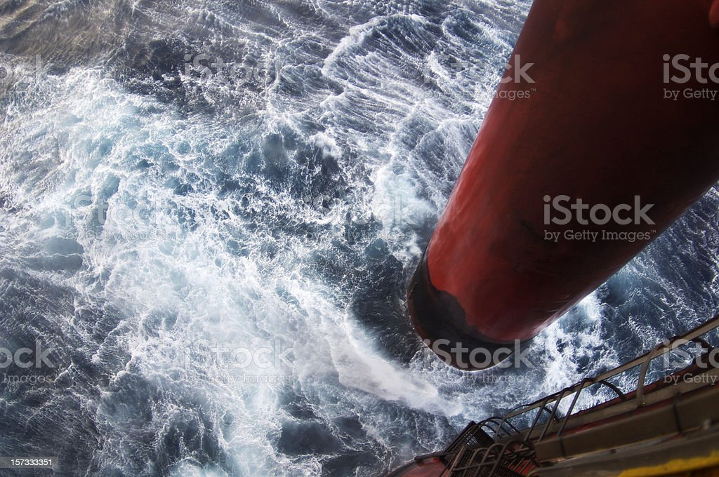 rough sea at oil rig royalty-free stock photo