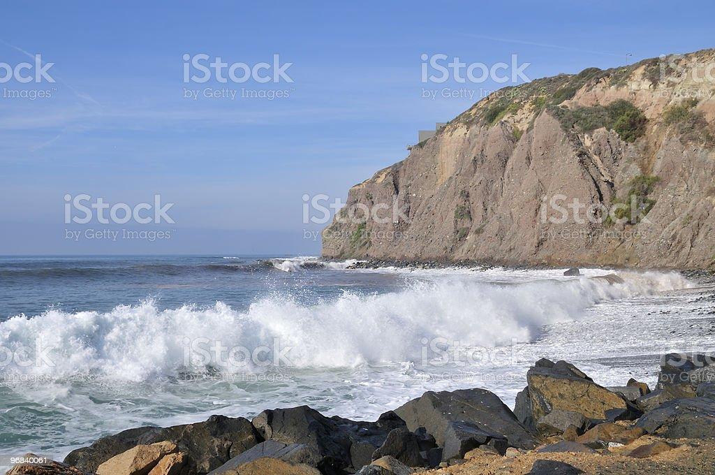 Rough Sea at Rocky Coastline stock photo