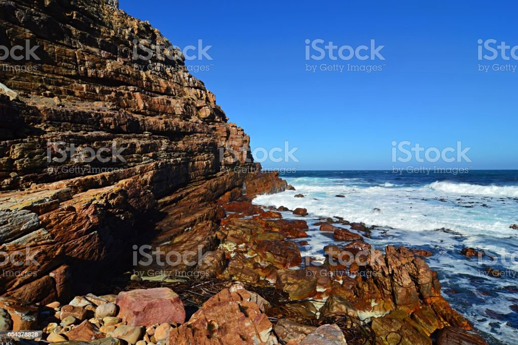 Rough sea at the Cape of Good Hope in Cape Town stock photo