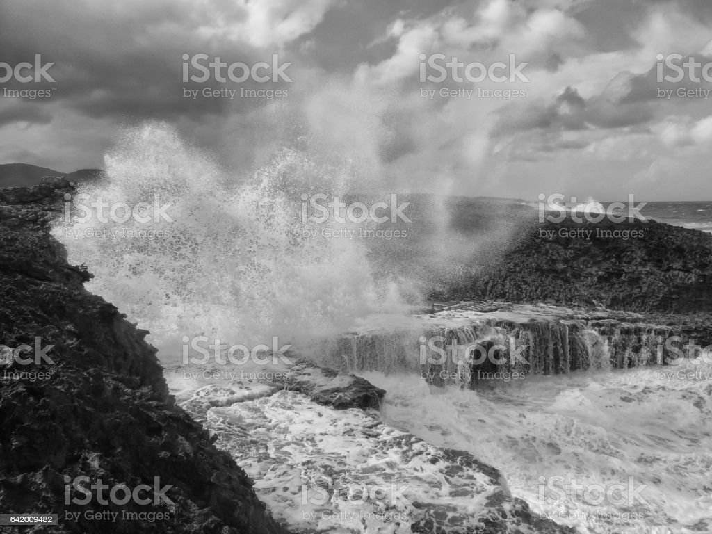 Rough sea in black and white stock photo