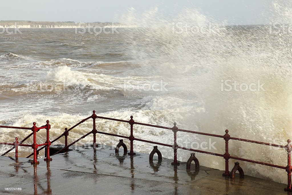 Rough Sea on the Yorkshire Coast stock photo