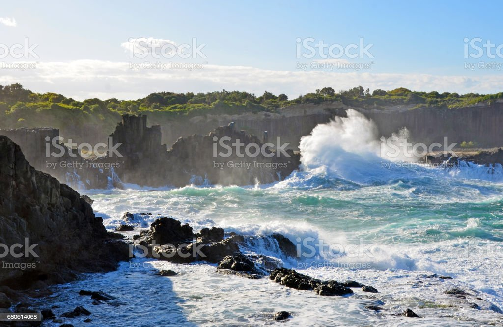 Rough seas at Bombo headland, NSW coast, Australia stock photo