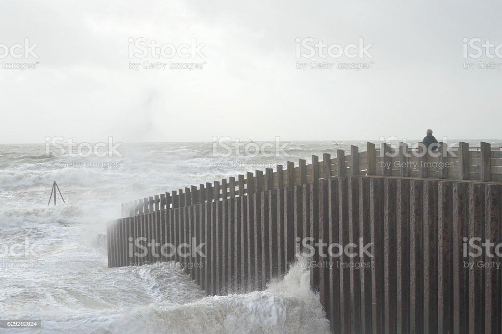 Rough Seas at Seaford,East Sussex, UK stock photo