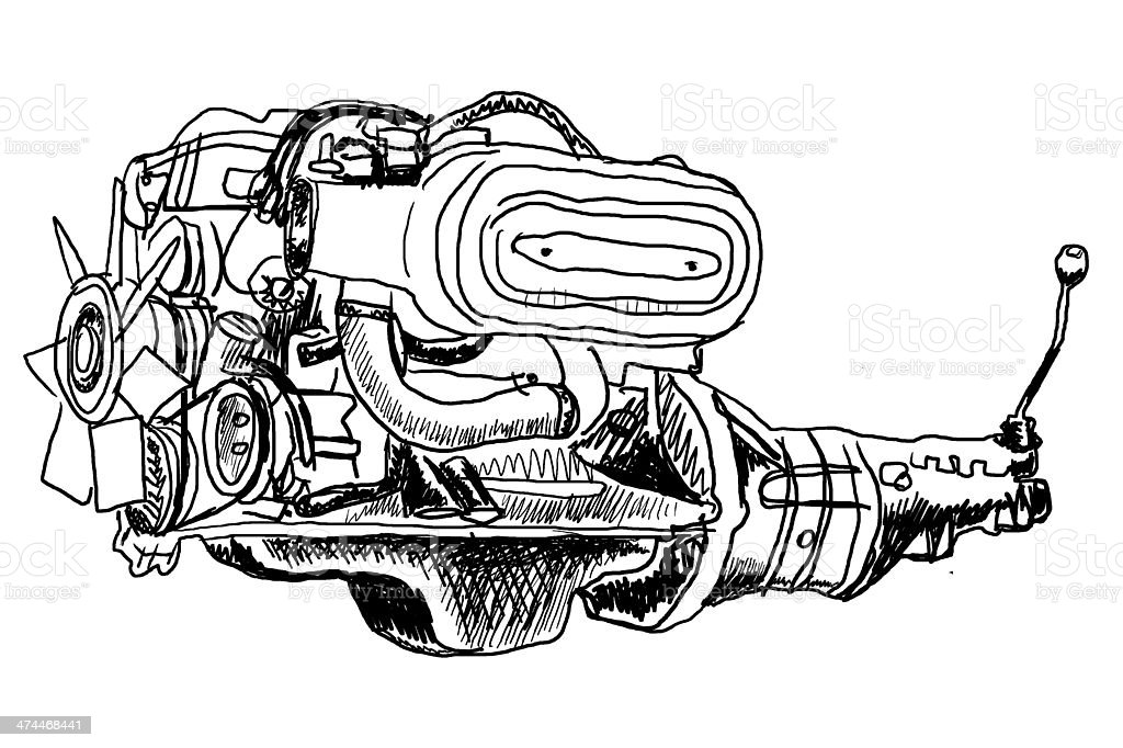 Rough sketch of an engine and gearbox stock photo