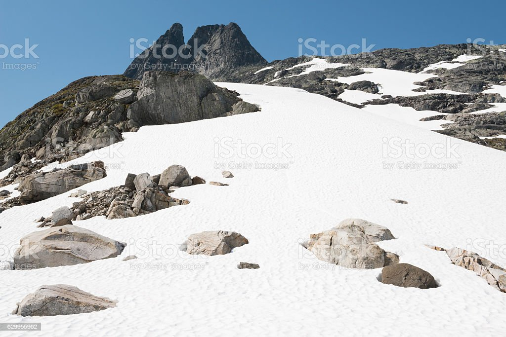 Rough terrain in Jotunheimen National Park in summer stock photo