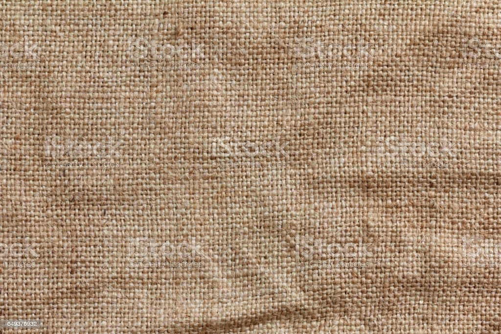 Rough texture of burlap, textile background closeup stock photo