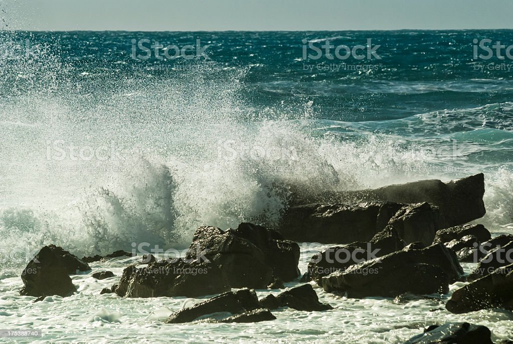 Rough waves on the rocks royalty-free stock photo