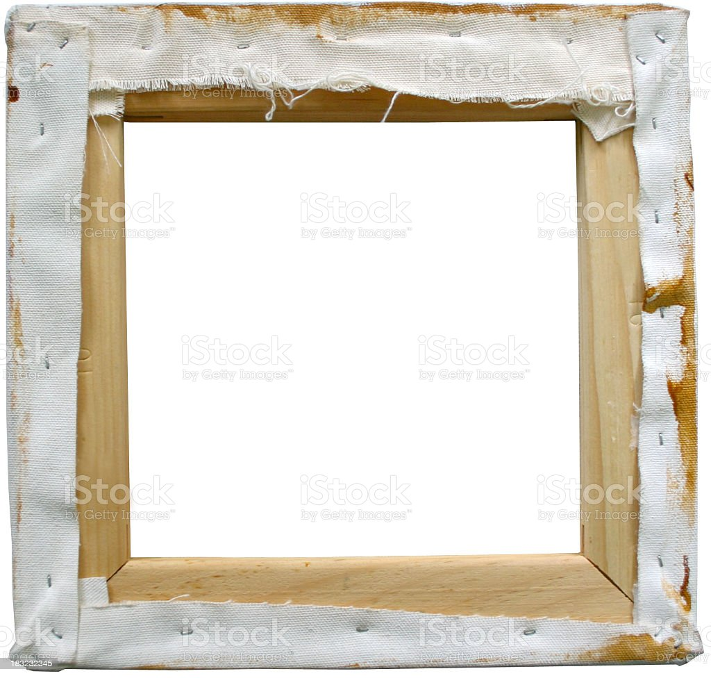 roughly stretched canvas on frame from behind royalty-free stock photo