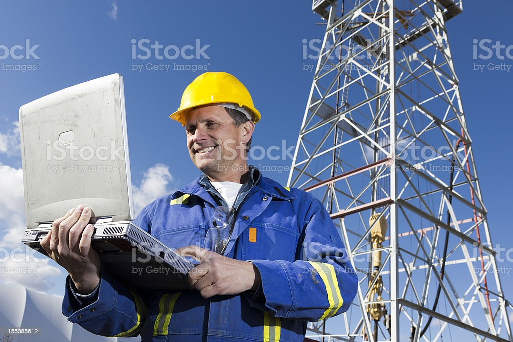 Roughneck and Computer royalty-free stock photo