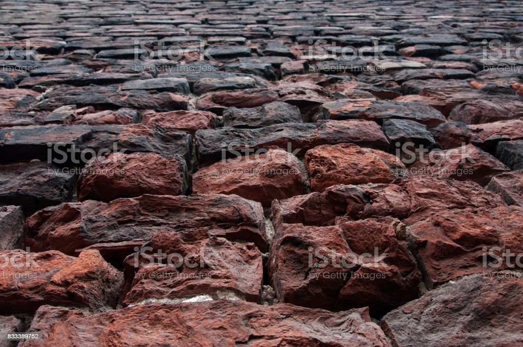 rought brick wall texture perspective stock photo