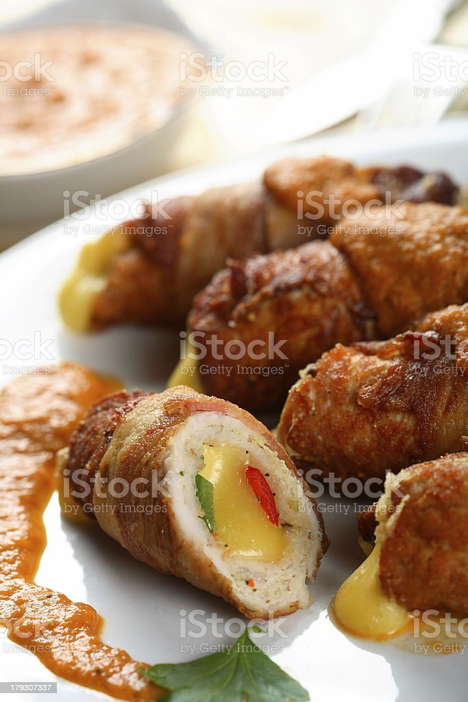 Roulade with cheese and dressing royalty-free stock photo