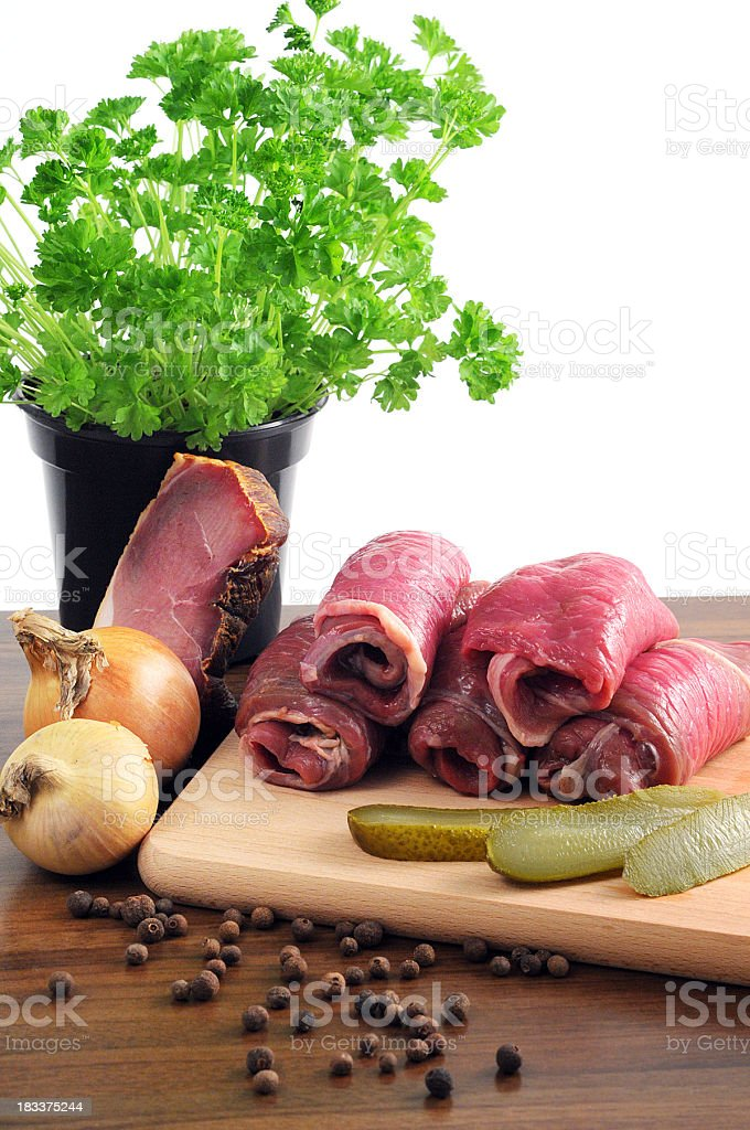 Rouladen - German meat roulade with onions pimento pickle parsley stock photo