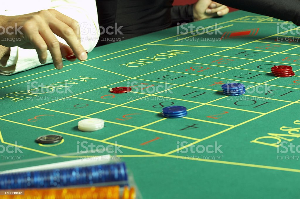 Roulette casino table with chips royalty-free stock photo
