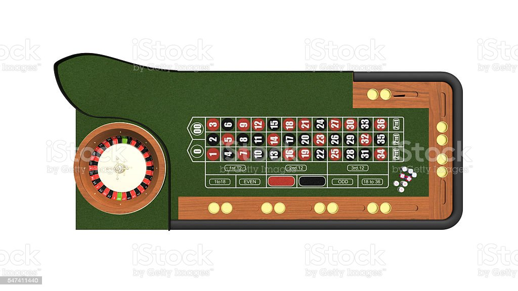 Roulette table, casino gambling game isolated on white, top view stock photo