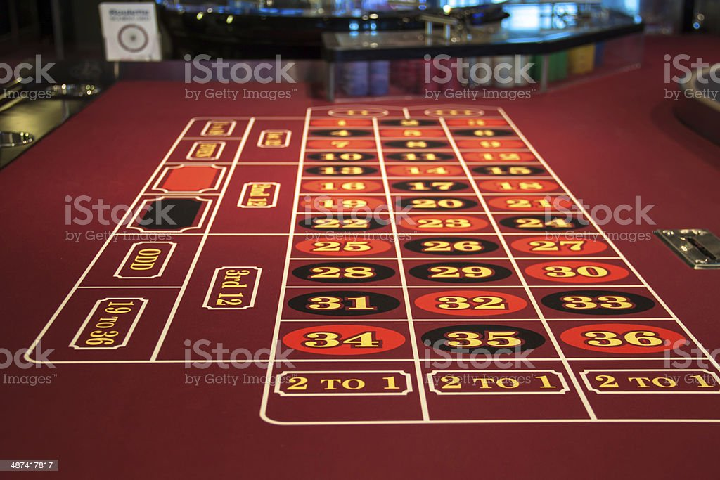 Roulette table in casino stock photo