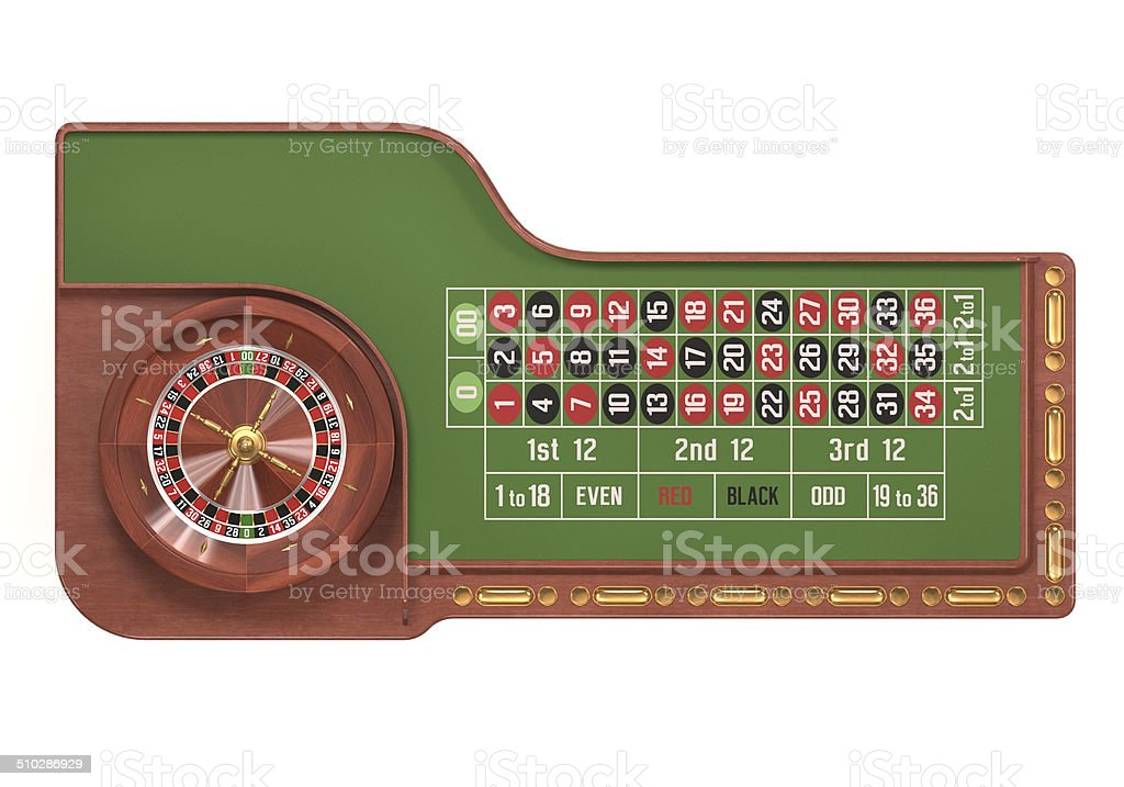 Roulette Table Over White stock photo