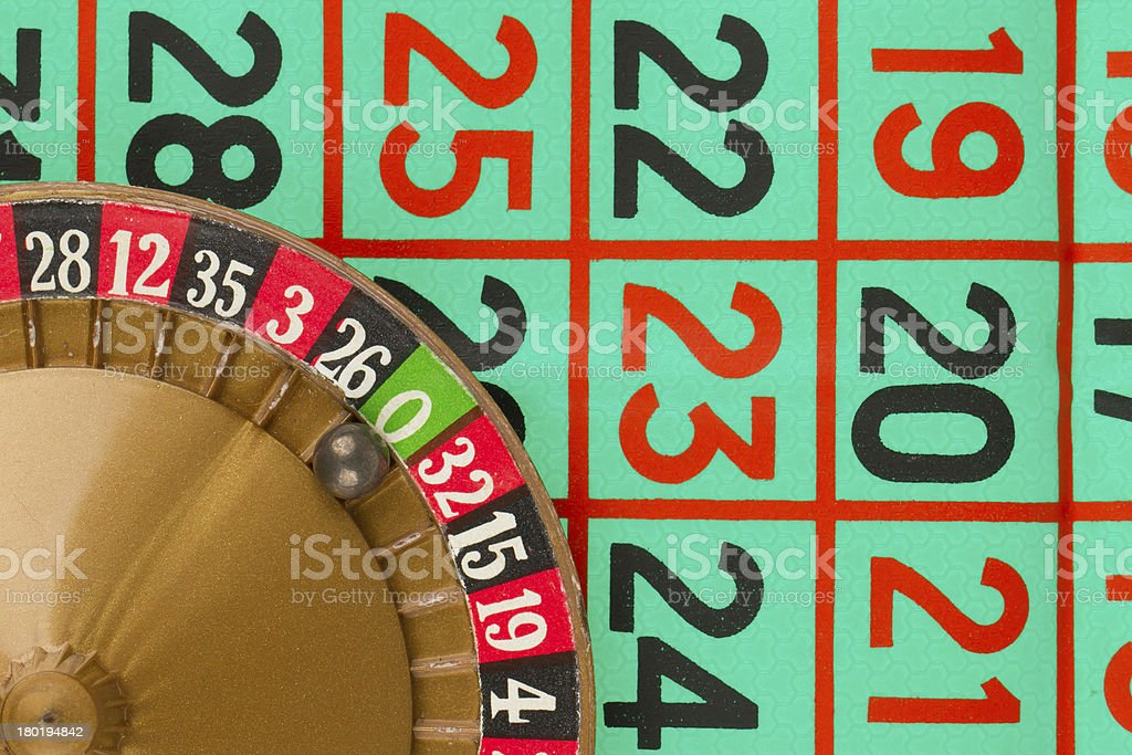 Roulette table, wheel and ball royalty-free stock photo