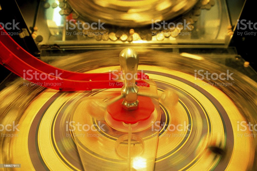 Roulette Wheel Arcade Game - Spinning stock photo