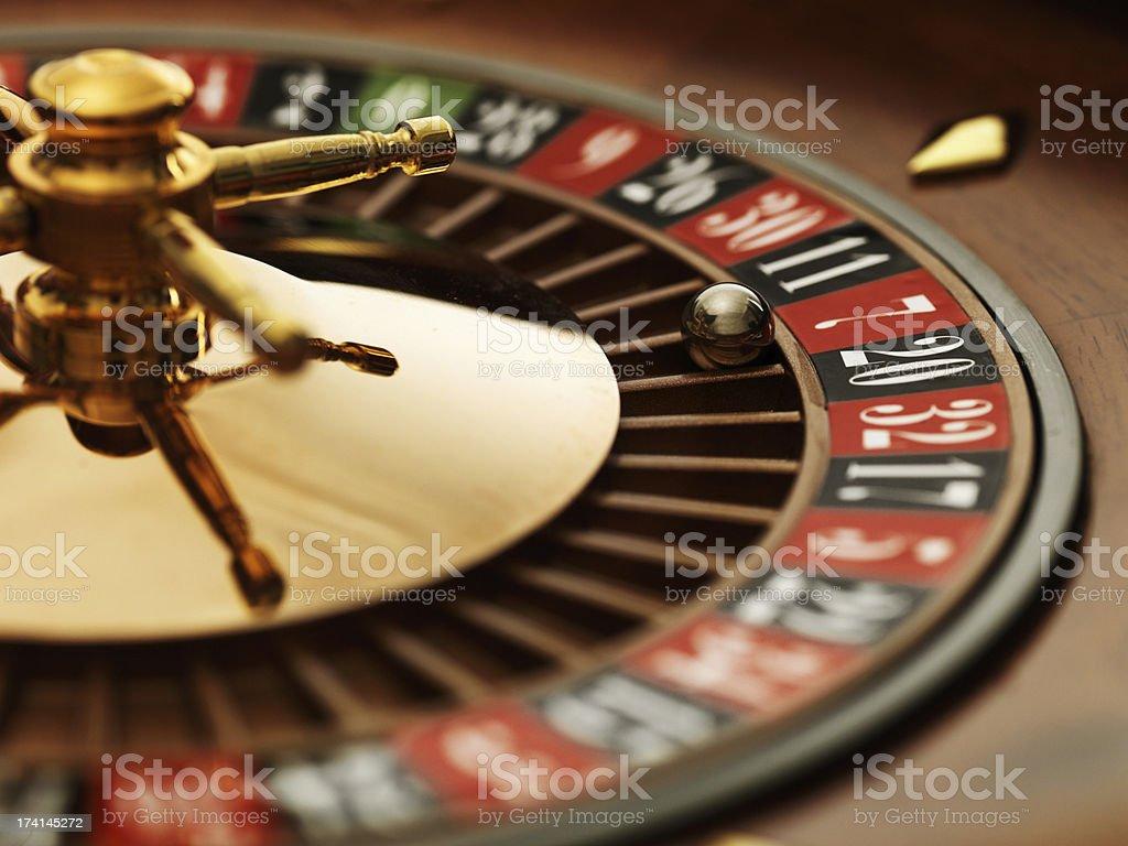 Roulette wheel closeup stock photo