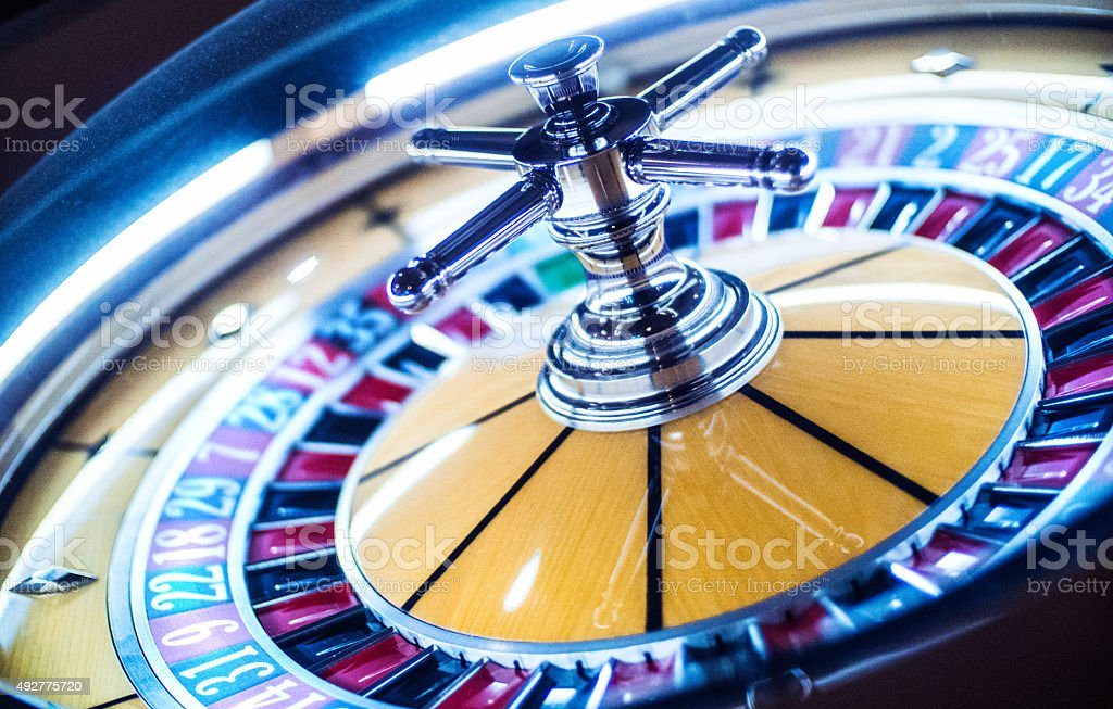 Roulette wheel in casino. stock photo